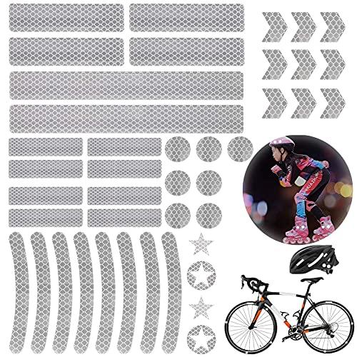 Shengruili 42 Stück Reflektoren Aufkleber Sticker,Reflexfolie Selbstklebend,Reflektor Aufkleber Set,Reflexfolie Fahrrad,Reflektoren Aufkleber für Kinderwagen Fahrrad und Helme