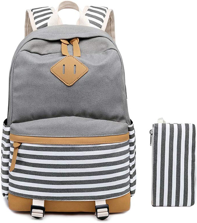 Canvas College Student Bag Laptop USB Backpack Lightweight Stripe Backpack for Men Women