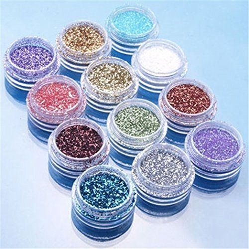 Lot de 12 poudres de paillettes pour décoration d'ongles en acrylique UV
