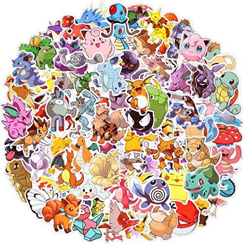 Paquete de Pegatinas, Pokémon Pegatinas, 100pcs Pegatinas Vinilo, Pegatinas vsco Impermeables, Pegatinas Portatil, Usadas para Coches, Motos, Bicicletas, Maletas, Patinetas, Regalos Ideales (C)