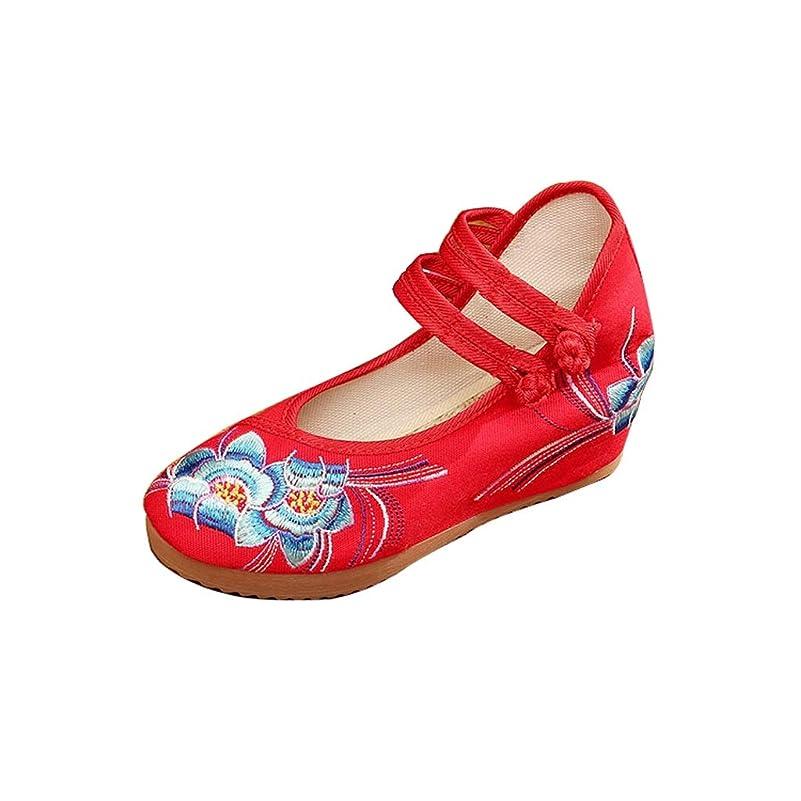 モナリザ肥沃なシャンプー布の靴女性の靴ナショナルスタイルレトロ刺繍綿と麻の通気性のスクエアダンスシューズ刺繍の靴 (色 : 赤, サイズ さいず : 36)