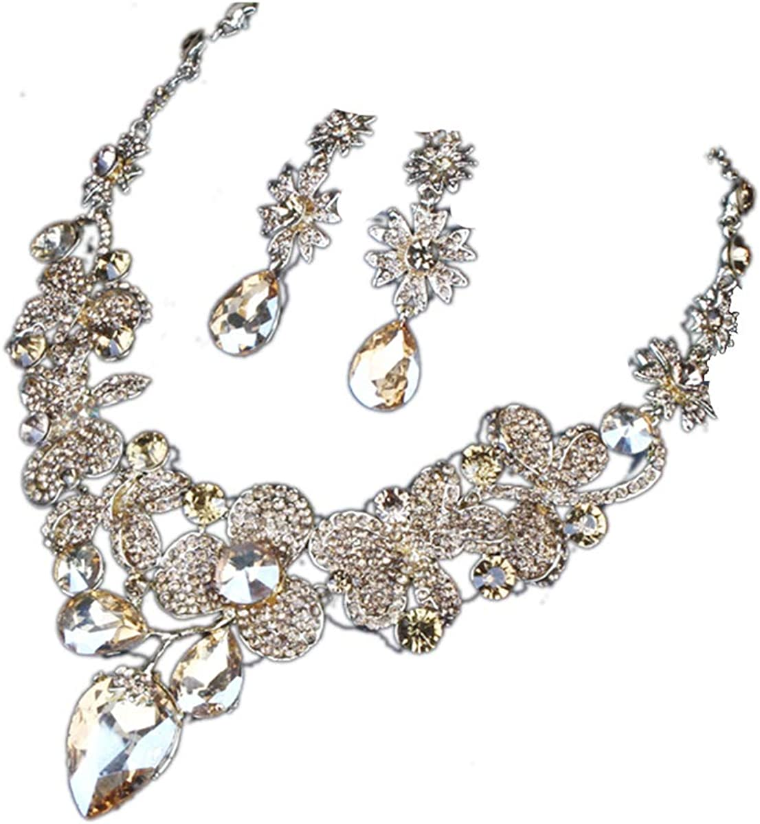 ENUUNO Bridal prom Costume jewelry Champagne and white Crystal Choker Pendant Bib Statement Charm Necklace and Earrings wedding jewelry sets for brides