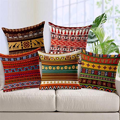JWEK Funda de cojín Conjunto de 5 Rayas étnicas africanas Estilo Bohemio Decoración geométrica del hogar Funda de Almohada Funda de cojín de Estilo étnico de Lino Funda de Almohada 45X45Cm