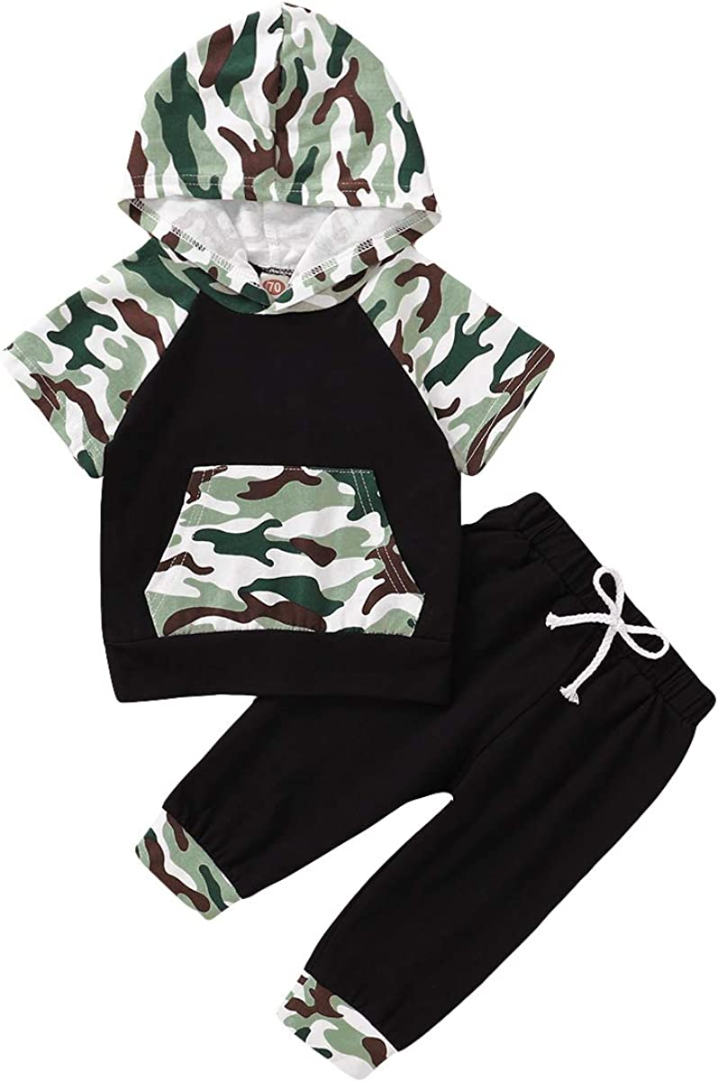 Baby Boy Camouflage Outfit Short Sleeve Hoodie Top and Long Pants 2PCS Clothes Set