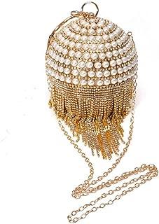 TWTAI Ladies Fringe Dinner Tote Banquet Bag Crystal Rhinestone Pearl Round Handle Shoulder Clutch Evening Bag Black/Gold/Silver (Color : Gold)
