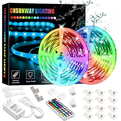 Waterproof Led Strip Lights, SMD 5050 32.8FT/10M 300Leds RGB Tape Light with RF Remote Controller Flexible Color Changing Light Strip Kit for Bedroom Kitchen TV Party