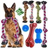 Zeaxuie Heavy Duty Dog Chew Toys for Aggressive Chewers - 9 Pack Value Set Includes Indestructible Rope Toys & Squeaky Toys for Large Breeds