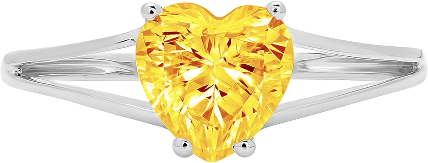 1.4ct Brilliant Heart Cut Solitaire Yellow online shopping C shank Natural split OFFicial mail order
