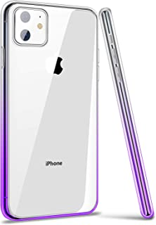 ANSIWEE iPhone 11 Case Cover,  Thin Slim Soft Colorful Color Gradient and Clear Hard Back Shock Drop Proof Impact Resist Extreme Durable Case for Apple iPhone 11 (Clear Purple)