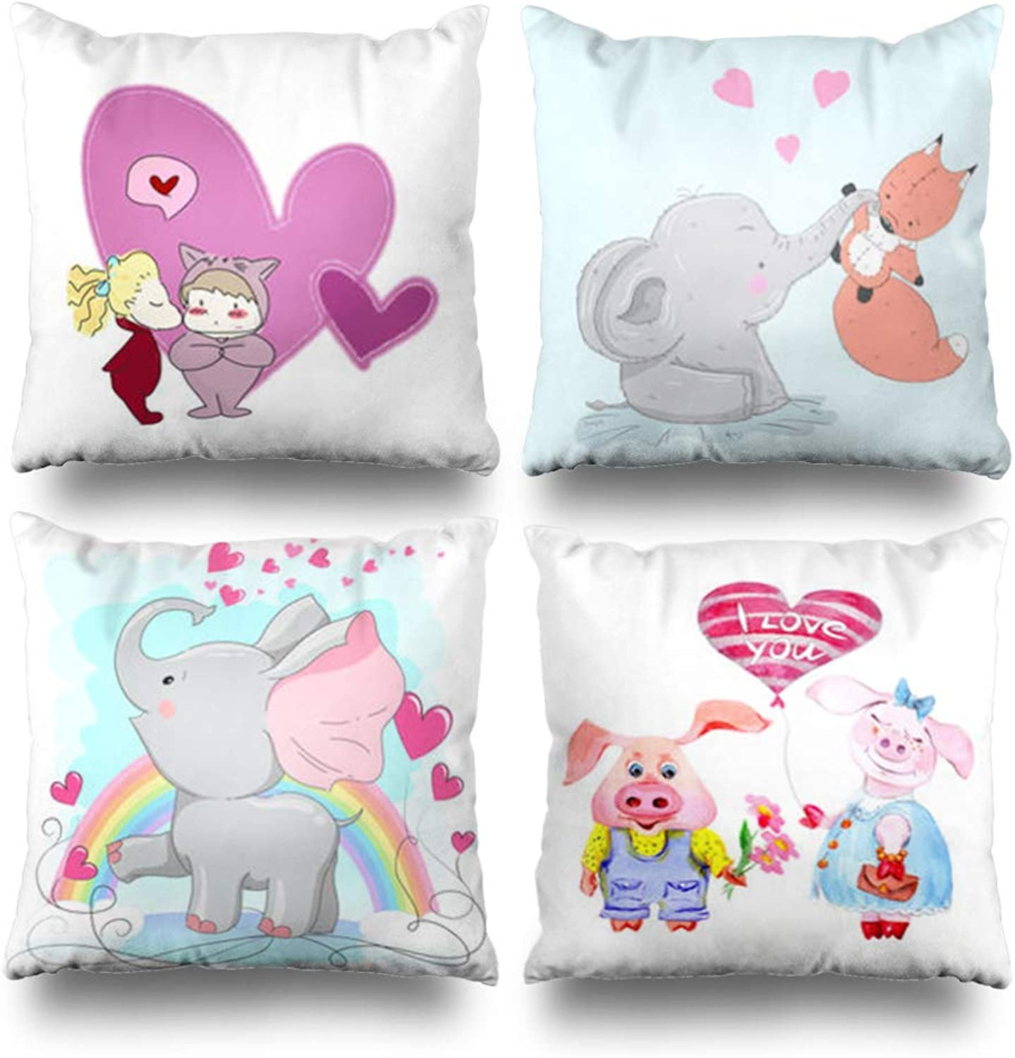 Set of 4 Decorativepillows Case Throw Pillows Covers for Couch Bed 18 x 18 inch, Cute Baby Cartoon Girl Boy Pink Home Sofa Cushion Cover Pillowcase Gift Bed Living Home