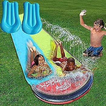 Koyasiry 15FT Racing Lanes and Splash Pool Outdoor Water Toys