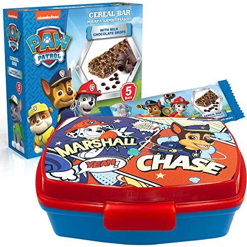 JuniorToys Design für Paw Patrol Süßes Geschenkset (Brotdose Lunchbox mit Müsli-Riegeln)