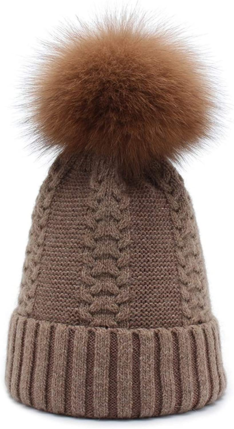 Knit Hat Women's Winter Warmth Thickening with Ball Care Ear Jacquard (color   Brown)