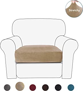 PureFit Stretch Velvet Non-Slip Sofa Couch Cushion Cover - Removable Sofa Seat Covers for Dogs, Washable Elastic Furniture Slipcovers Protector for Kids and Pets (Chair, Camel)