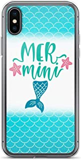 iPhone X/XS Pure Clear Case Cases Cover Funny Mermaid Gifts Fish Scales Mer Mimi Mermaids Tail and Starfish for Swimmer Girls Kids Present
