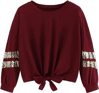 Women's Casual Pullover Crewneck Long Sleeve Knot Front Sweatshirt Crop Top T-Shirts