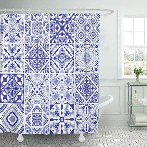 lovedomi Tela Impermeable Incluye Doce Ganchos plástico Serie Tema Simple Cortina Ducha Arquitectura Azul Azulejos portugueses Hermosos Tradicionales Azulejos Cortina Ducha típica Abstracta Manga