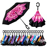 XENOTY Double Layer Inverted Reversible No Drip Umbrella with C Shape Handle Newest Windproof Reverse Folding Outdoor Car Umbrella for Women & Men - Multi Color & Fancy Printed Design