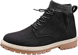 PengCheng Pang Ankle Boot for Men High Top Work Boots Suede Leather Lace up Stitching Elastic Socks Collar Knit Side Cut Anti-Slip Lug Sole (Color : Black, Size : 7.5 UK)