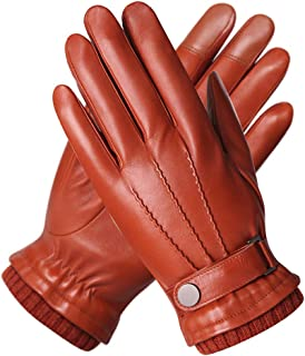 Best Mens Winter Cold Weather Warm Leather Driving Gloves for Men Wool/Cashmere Blend Cuff Review