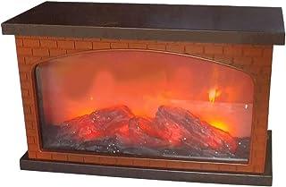 IH CASADECOR Plastic Brick Fireplace with USB Led Logs On Fire (Brown) Figurine, Multi