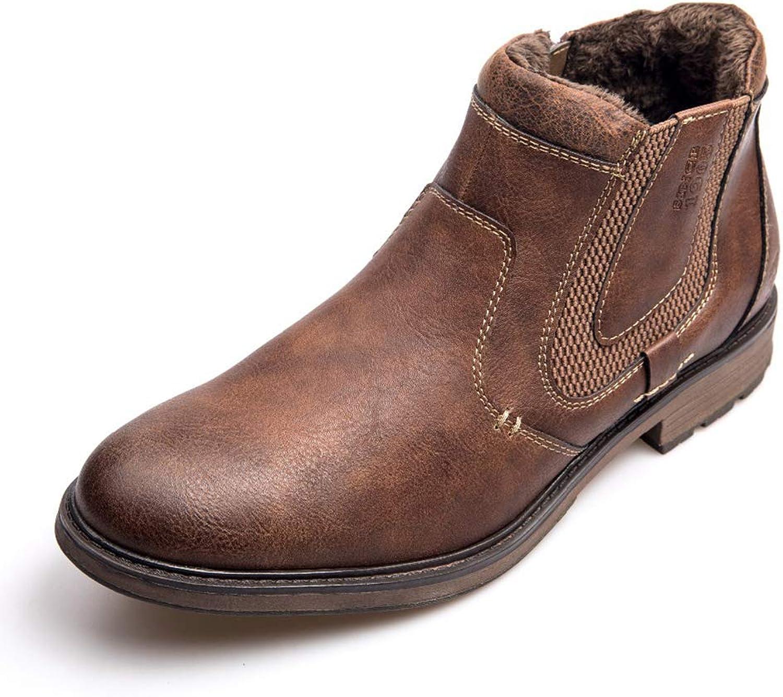 Fashion Leather Men Winter Autumn shoes Retro Fur Zipper Ankle Boots Plus Size Waterproof Boots
