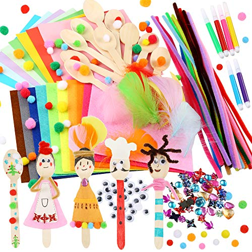 Caydo 10 Sets Wooden Spoons Kit, Crafts for Kids including Pipe Cleaner, Pom Poms, Felt, Wiggle Eyes, Feather, Origami Paper and Acrylic Flatback Rhinestones for Kids Craft Supplies