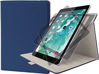 エレコム iPad 9.7 (2017/2018) ケース フラップカバー ソフトレザー 360度回転 ブルー TB-A179360BU