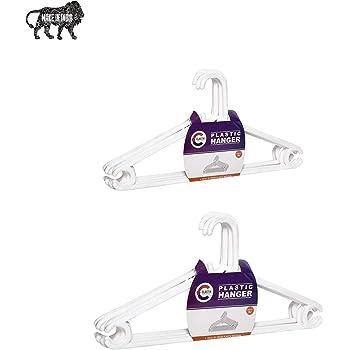 Clastik Plastic Clothes Hanger Set of 12 pcs (White)