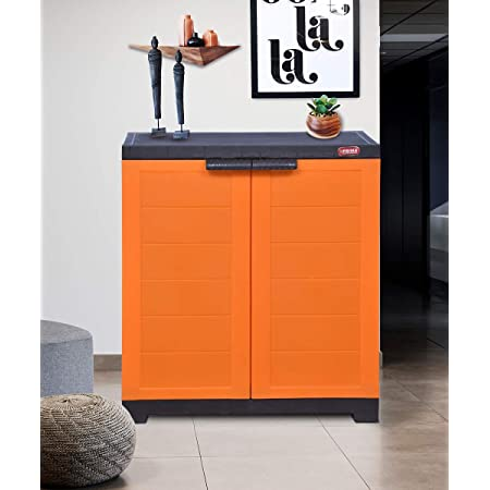 Alfa 1 Plastic Cabinet for Storage   Space Organizer   Shelves   Cupboard   Living Room   Kids   Multipurpose for Home Kitchen & Officeby Prima Orange & Brown Color
