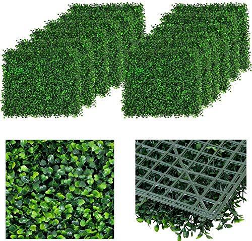 uyoyous 12 Stück Künstliche Hängend Grüne Sichtschutz 40X60cm künstlichen Pflanzen Wand Matte für Indoor...