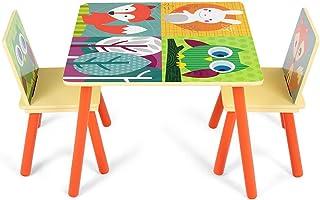 Costway Table et Chaises pour Enfants Ensemble Table et Chaises en MDF 3PiècesGroupe de Sièges pour Enfants