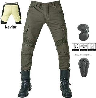WCCI Vaqueros de moto para hombres - Kelvar - Protección Aramid Motocicleta Pantalones Biker Pants (Verde militar, XL=36.5