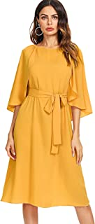 Milumia Women's Cap Sleeve Self Belted Fit and Flare Summer Dress
