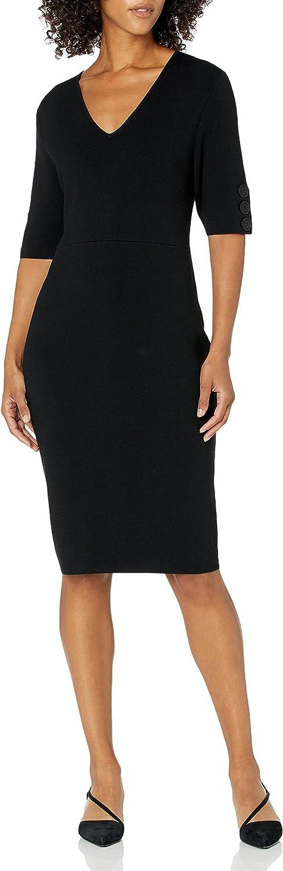 Amazon Brand - Lark & Ro Women's Half Sleeve V-Neck Sheath Sweater Dress with Buttons
