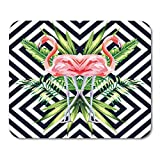 Emvency Mouse Pads Beautiful Bird Pink Flamingo Tropical Banana Leaves in Mirror on Geometric Jungle Floral Mousepad 9.5' x 7.9' for Laptop,Desktop Computers Office Supplies Mouse Mats