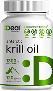 Antarctic Krill Oil 1300mg, 120 Softgels, Burpless, Rich in Natural Source Omega-3s EPA, DHA and Astaxanthin - Advanced Kr...