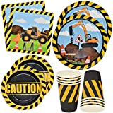 Construction Themed Birthday Party Supplies Tableware Set 24 9' Paper Dinner Plates 24 7' Dessert Plate 24 9 Oz. Cups 50 Lunch Napkins Digger Truck Bulldozer Vehicle Construction Zone Site Decorations