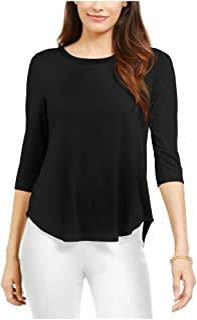 ALFANI Womens Black 3/4 Sleeve Jewel Neck Top AU Size:10