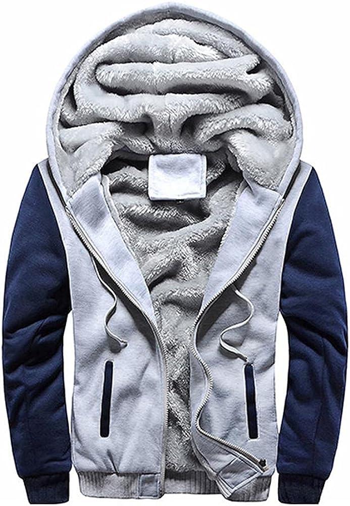 Beppter Men's Padded Lined Fleece Jacket Baseball Hoodie Sweatshirt Thick Warm Full Zip Winter Warm Outwear Coat