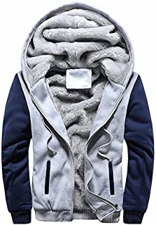 Hoodies for Men Zip up Hooded Fleece Sweatshirts Pullover Warm Winter Fuzzy Sherpa Lined Jackets Coats for Men
