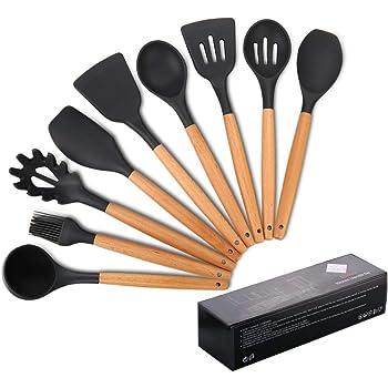 Utensilios de cocina de silicona, antiadherente Mreechan con mango de madera para utensilios de cocina antiadherentes - Juegos de cocina Gadgets(9 piezas): Amazon.es: Hogar