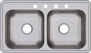 Elkay DSE233194 Dayton Equal Double Bowl Drop-in Stainless Steel Sink