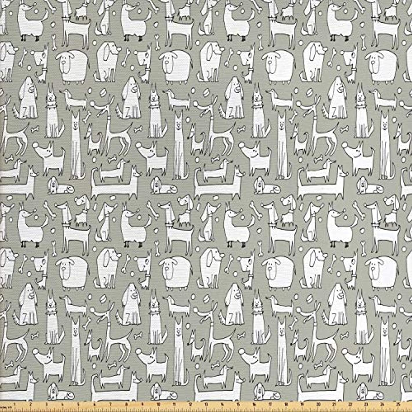 Lunarable Dog Bone Fabric by The Yard, Composition of Doodle Dog Print with Labrador Hound Pug Dachshund Breeds, Decorative Fabric for Upholstery and Home Accents, 2 Yards, Sage Green White