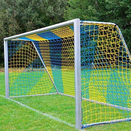 Donet Fußballtornetz 7,5 x 2,5 m Tiefe oben 2,00/unten 2,00 m, zweifarbig, PP 4 mm ø, blau/gelb
