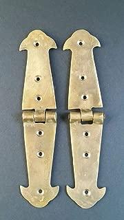 Pair Brass Rustic Hinges Antique Vintage Style Door Trunk Box Lid 5 3/4