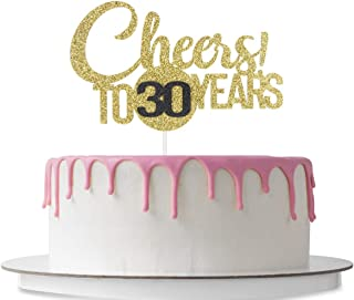 Cheers! To 30 Years Cake Topper, Happy 30th Birthday, Wedding Anniversary Party Decoration, 30 Years Blessed, Cheers & Beers to 30, Company Anniversary, Double Color Gold and Black Glitter