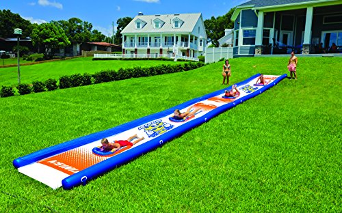 WOW World of Watersports 18-2200 Mega Slide, Giant Backyard Waterslide, High Side Walls, Built in Sprinkler, 25 Feet x 6 Feet, Includes Hand Pump and 2 Inflatable Sleds