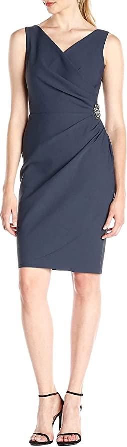 Slimming Short Ruched Dress With Ruffle (Petite and Regular)