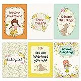 Papierdrachen 12 Osterkarten zum Sammeln und Verschicken - liebevoll gestaltetes Postkarten Set Bären und Enten - Grußkarten Set 4 - Ostern 2020
